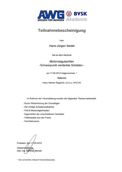 Zertifikat AWG BVSK